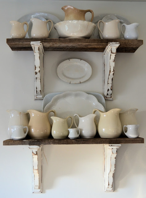 Barn wood shelves by Shabby Love featured on Funky Junk Interiors