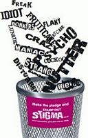 Paper with stigmatic words are being tossed into a trash can with the words stamp out stigma written on it