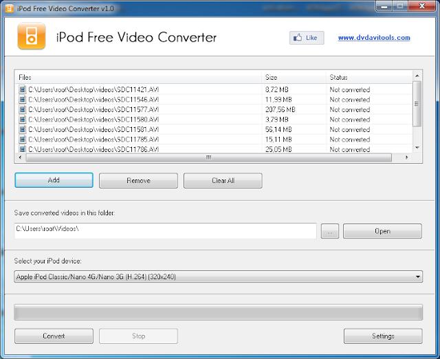 برنامج مجانى لتحويل جميع صيغ الفيديو للتوافق مع جميع إصدارات الايبود تاتش iPod Free Video Converter-1-0