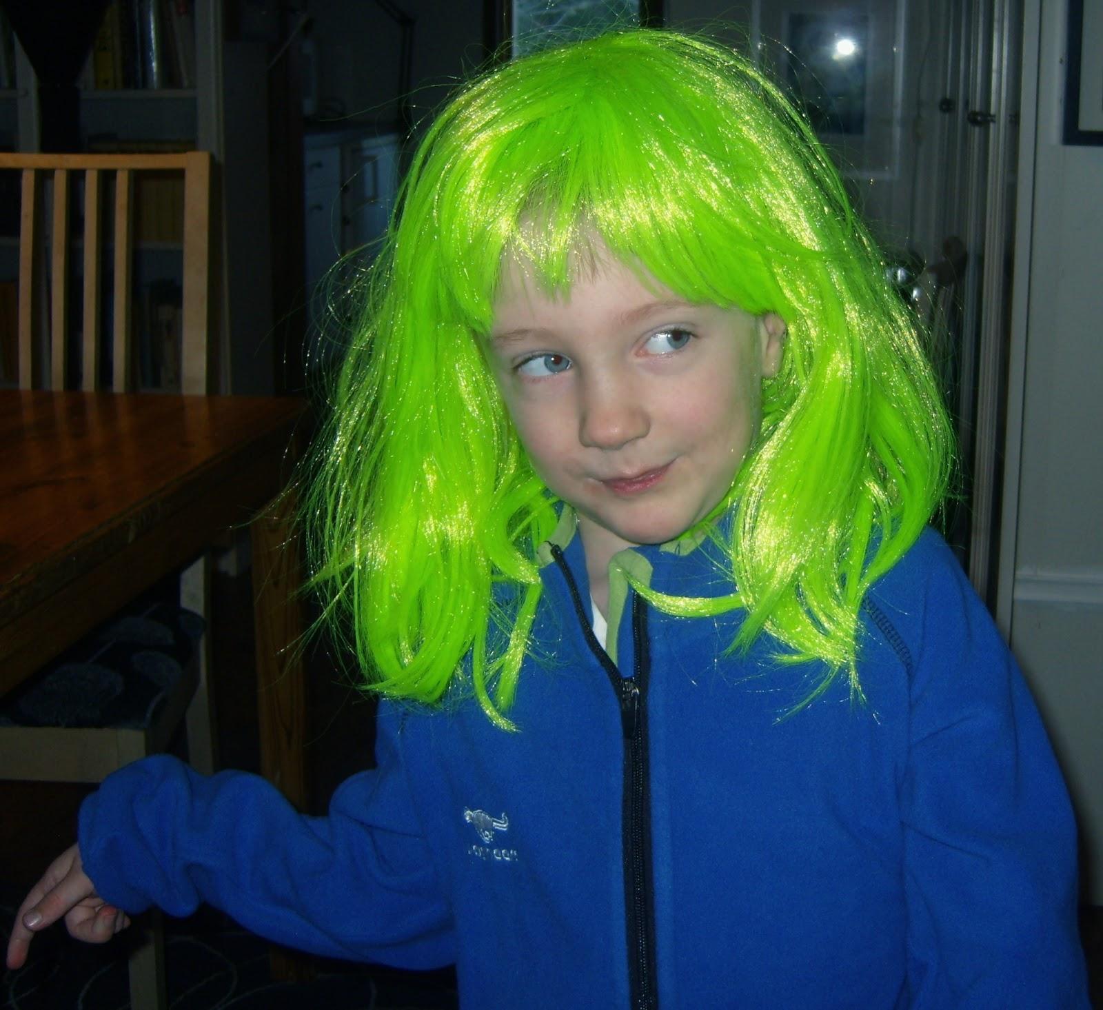 grön i håret