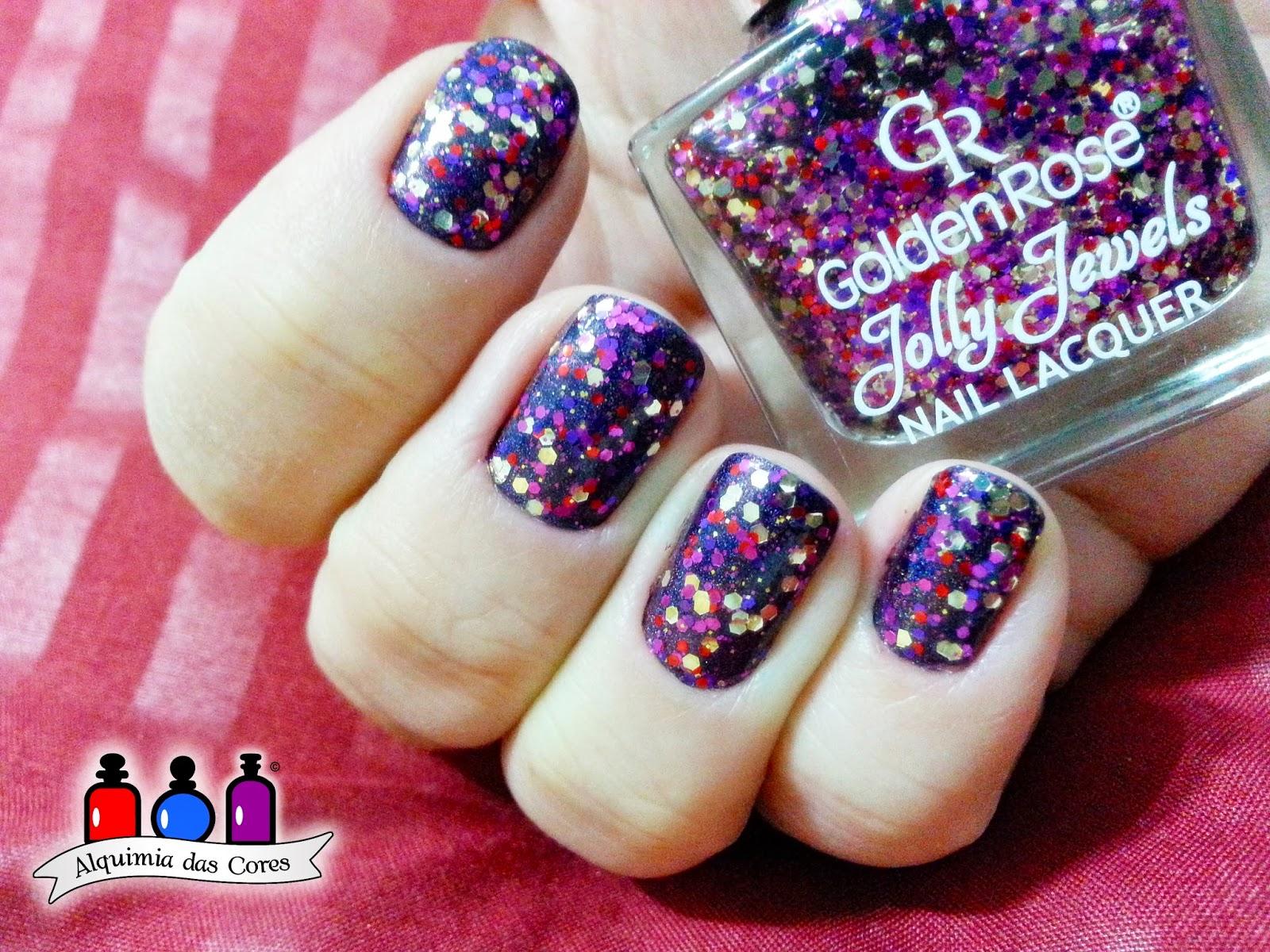 arii góes, glitter, rosa, roxo, azul, prata, golden rose 120