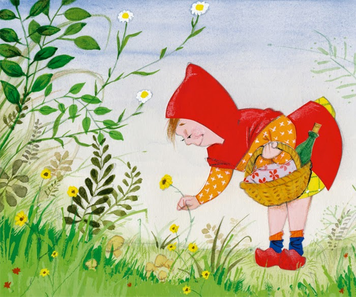little red riding hood picking flowers illustration by Robert Wagt