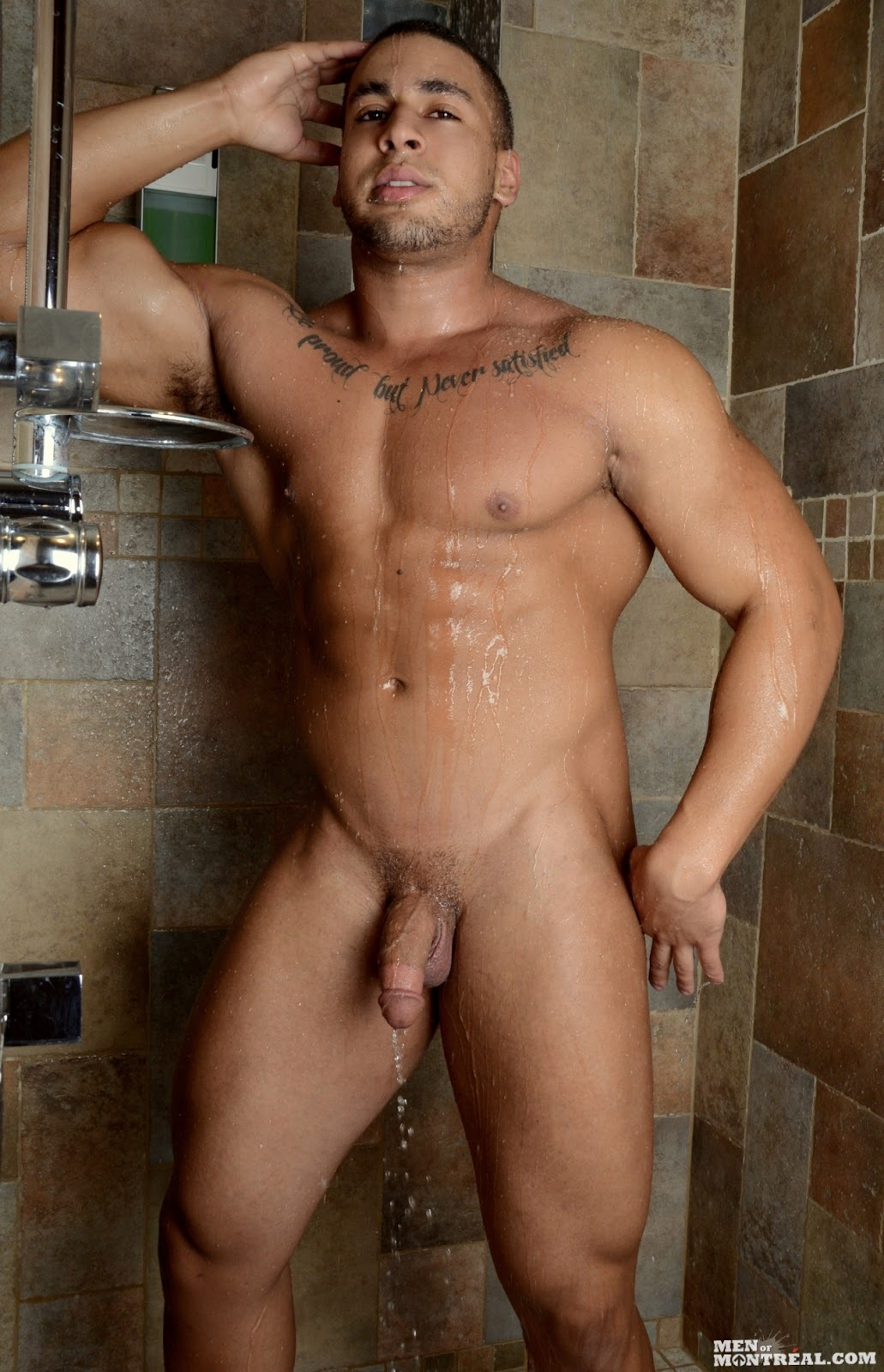 Hairy men in the shower