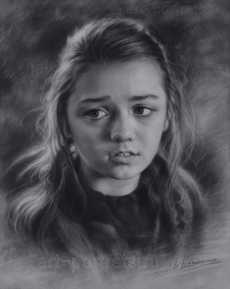 07-Maisie-Williams-Game-of-Thrones-Igor-Kazarin-Painting-and-Drawing-Portraits-with-Dry-Brush-www-designstack-co