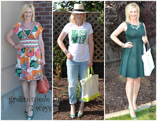 Green suede shoes worn in three different ways: work, errands, luncheons