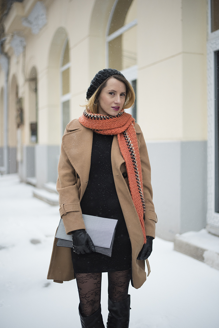 Skinny Buddha camel coat Max Mara Weekend bag knit scarf