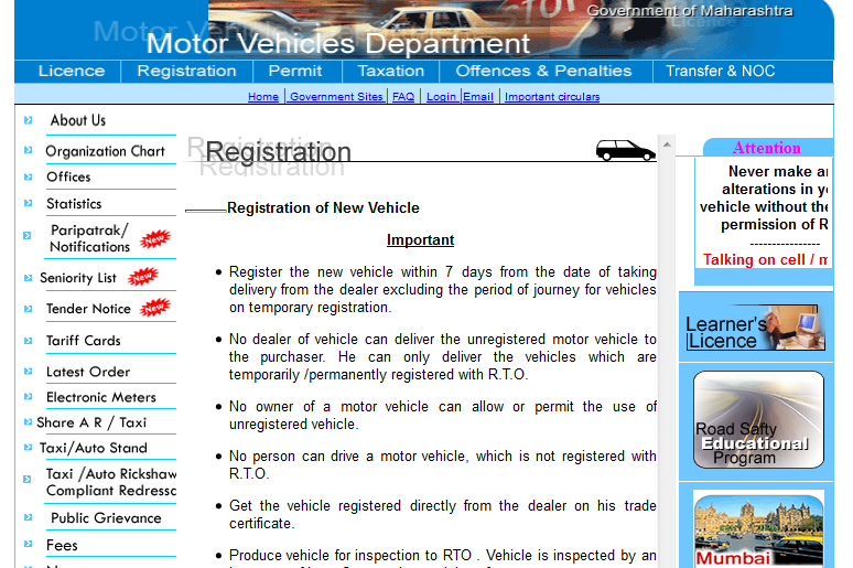 Kerala motor vehicle registration department for Motor vehicle department registration