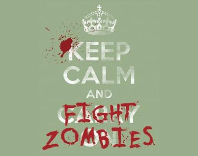 """Keep Calm and Fight Zombies"" is one of the many signs seen around this  Florida theme park during its 2012 annual Halloween event. 9d759616aa"
