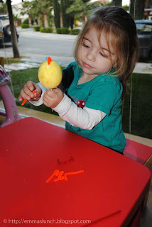 toddler crafts Easter Chicken adding the legs