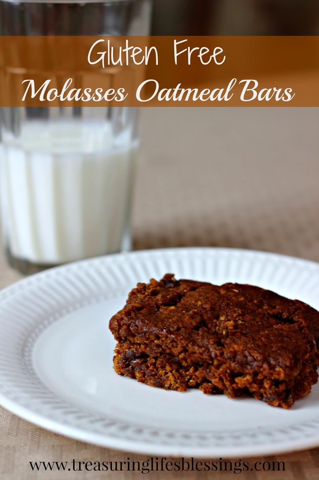 Gluten Free Molasses Oatmeal Bars