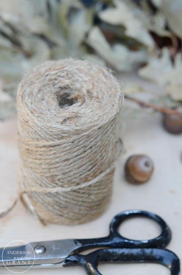 Use twine to tie up branches of leaves to dry.  The dried leaves can be used as free fall decor!  |  www.andersonandgrant.com