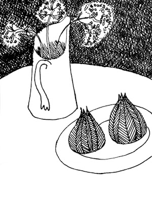 line drawing of a jug on a circular table with a plate of two figs