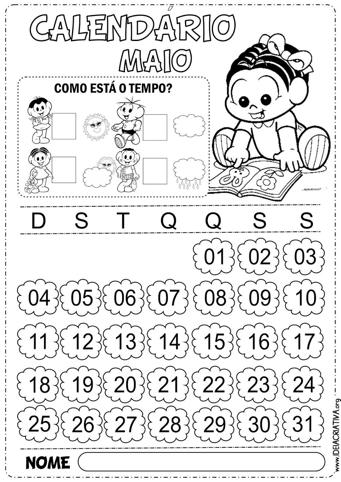 Calendário Maio Turma da Mônica Baby