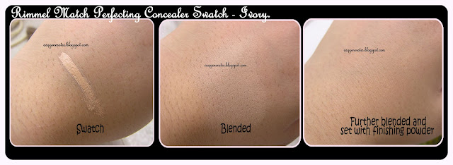 Rimmel Match Perfecting Concealer swatch and blended