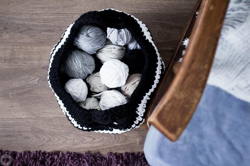 t-shirt yarn, zpagetti, szydełko, crochet, kosz, basket