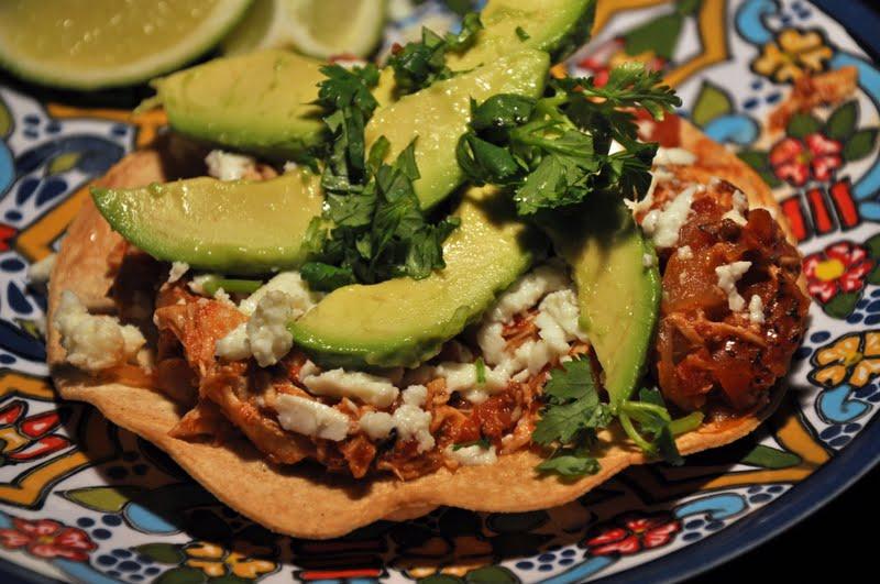 with avocado salsa chicken tinga tostadas recipe yummly chicken tinga ...