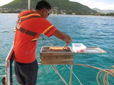 Dining onboard a catamaran in Mauritius