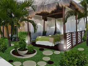 diseño de jardines pequeños - fuente vegetal - alumbrado noche