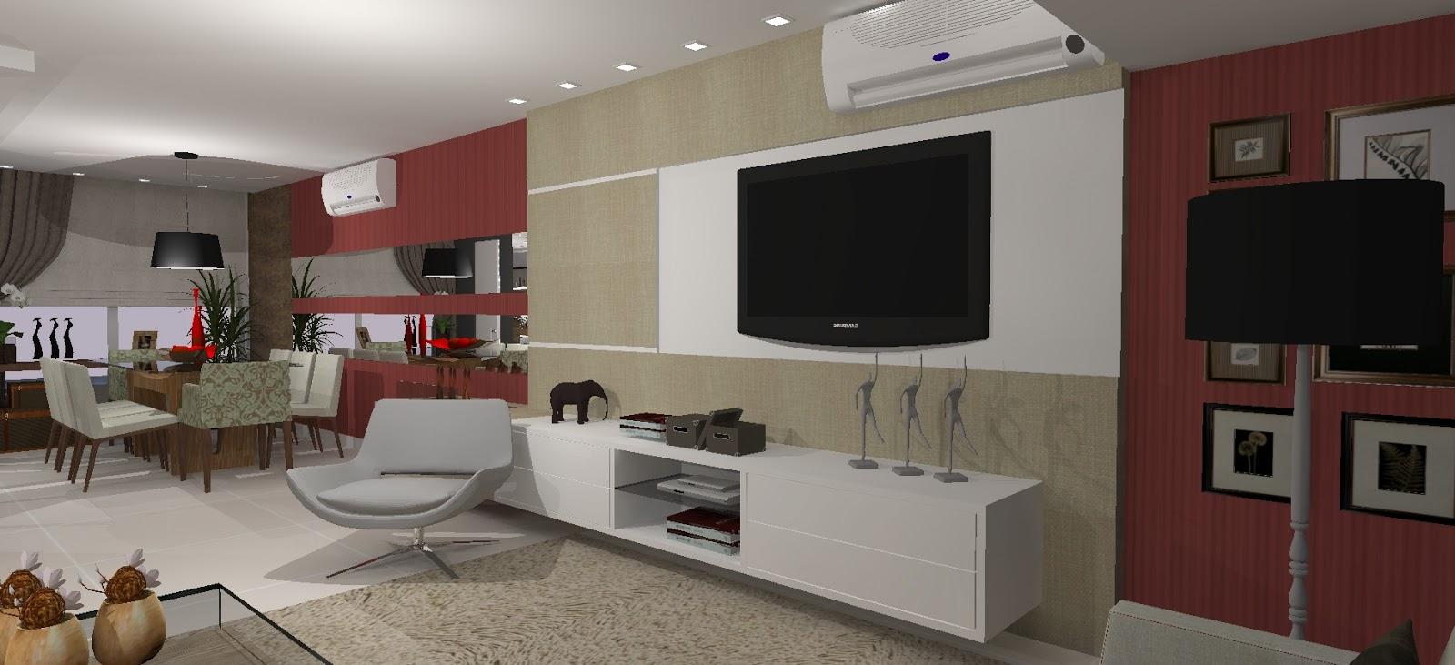 Arquitetas Associadas Sala de TV, sala de jantar e cozinha integradas