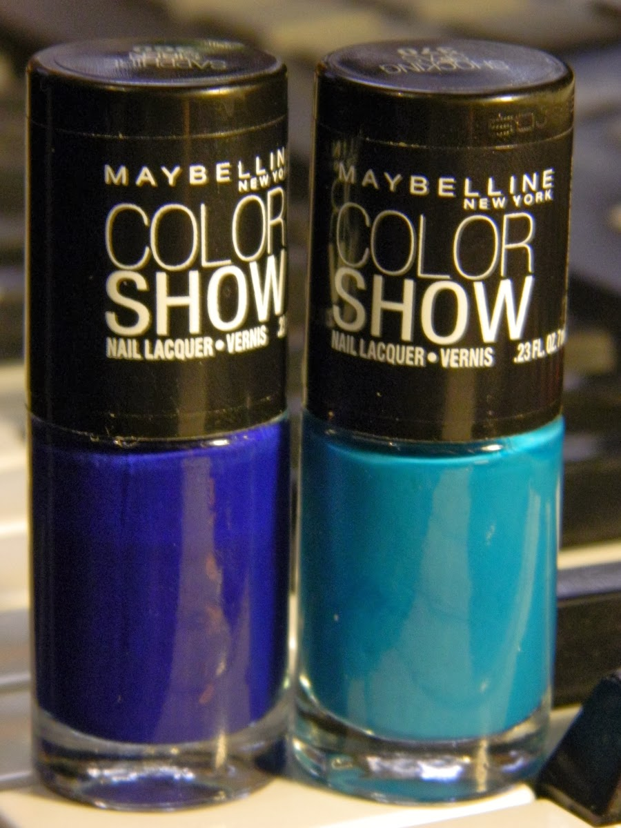 blue stripe nail art tutorial - maybelline color show 360 sapphire siren 370 shocking seas