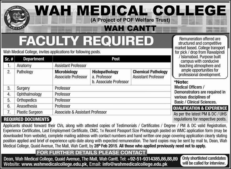 Medical jobs in Wah Mecial College