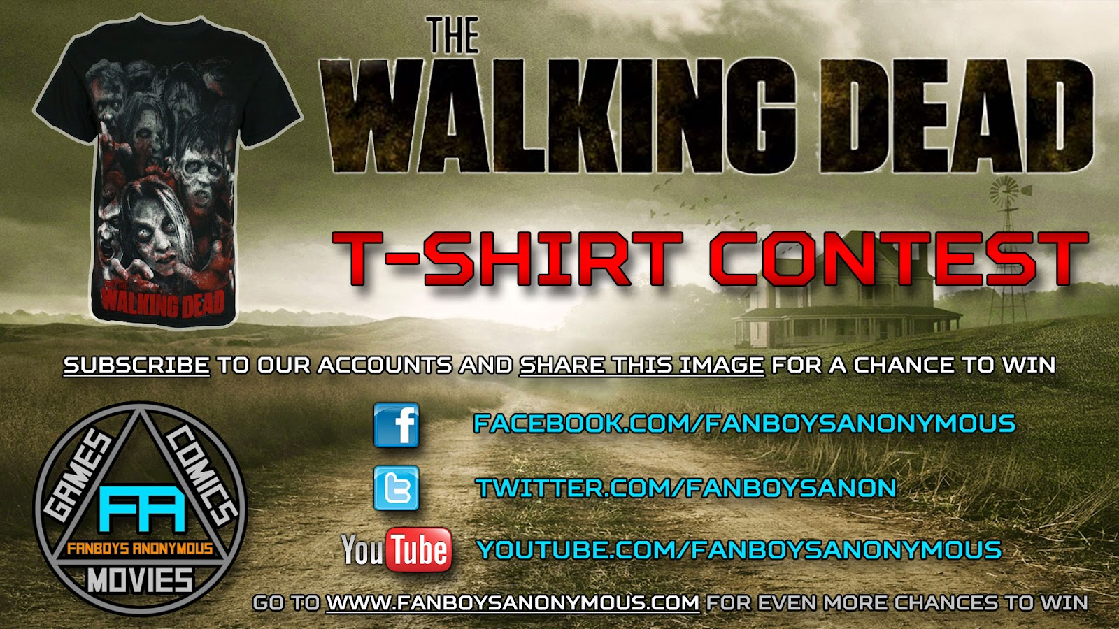 win a free Walking Dead t-shirt by subscribing to Fanboys Anonymous