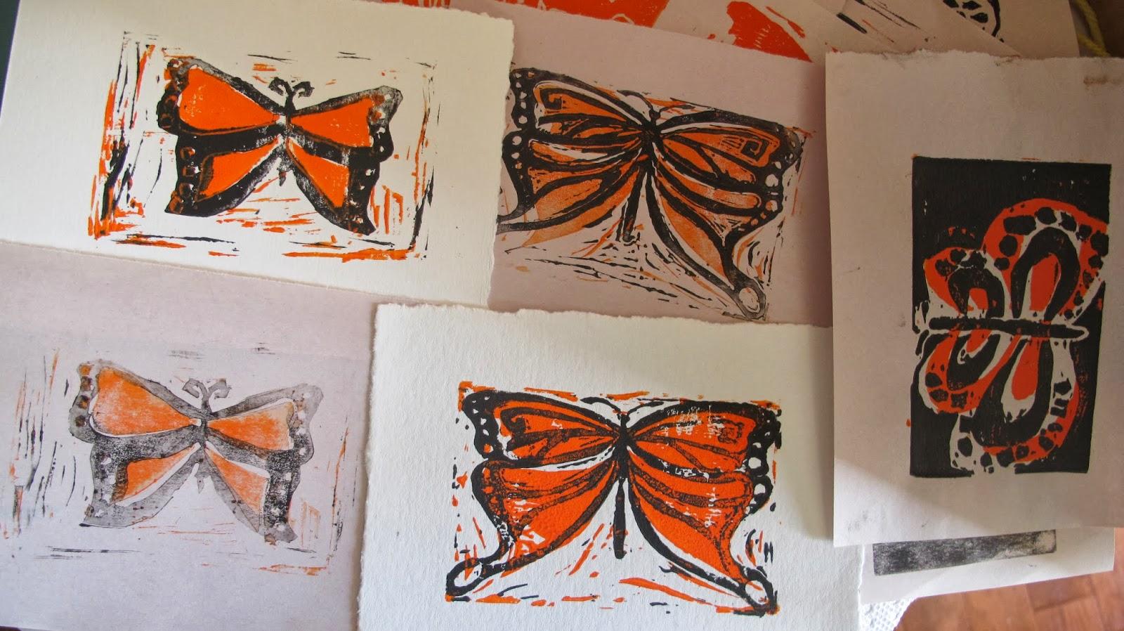 nutchele monarch butterfly printmaking