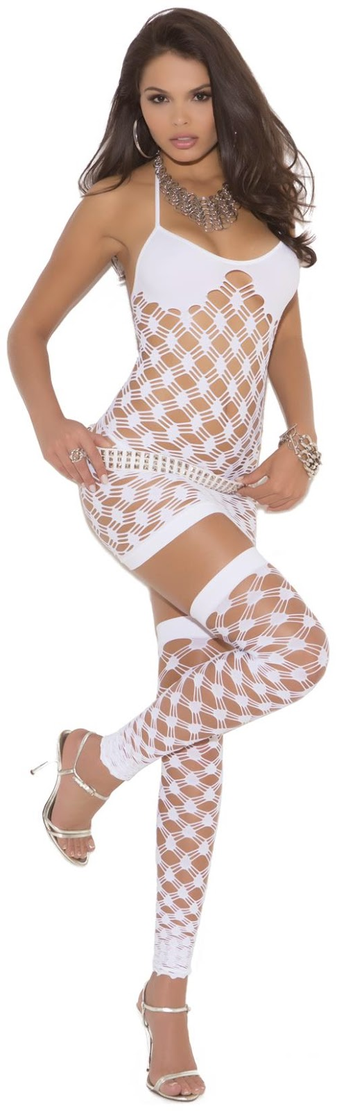 Diamond Net Mini Dress with G-String and Thigh Highs