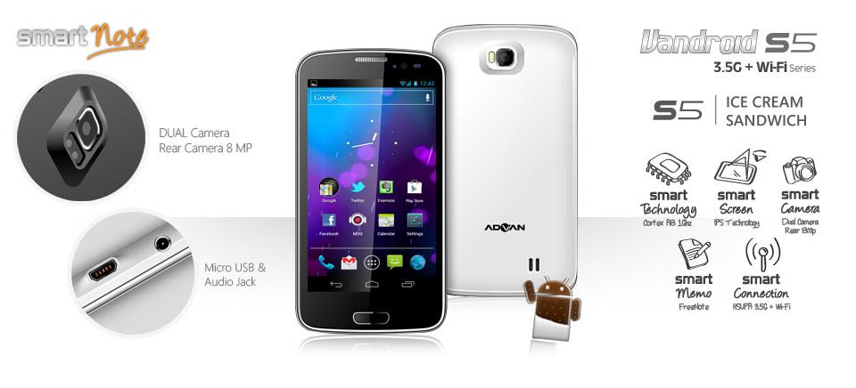 Spesifikasi Dan Harga Advan Vandroid S5 Beranda Handphone