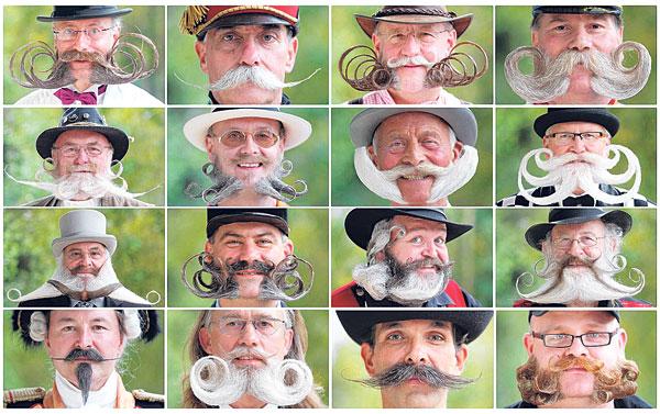 KOMBINASI gambar menunjukkan beberapa peserta yang menyertai pertandingan misai dan janggut di Mulhouse kelmarin.