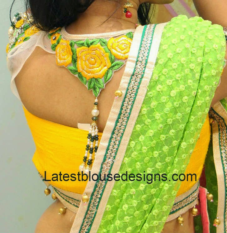 latest net blouse neck designs