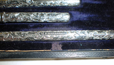 Superb Silver Samson Morden Cased Pen & Pencil Set - Hallmarked 1890
