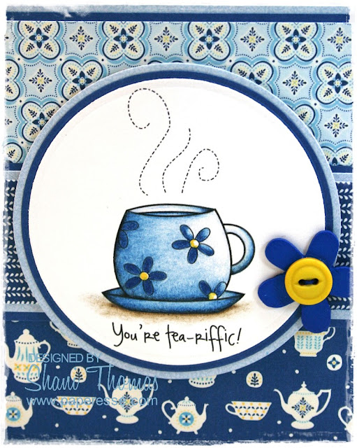 Tea lover's card detail of digital stamp from DigiStamp Boutique Coffee Break set.