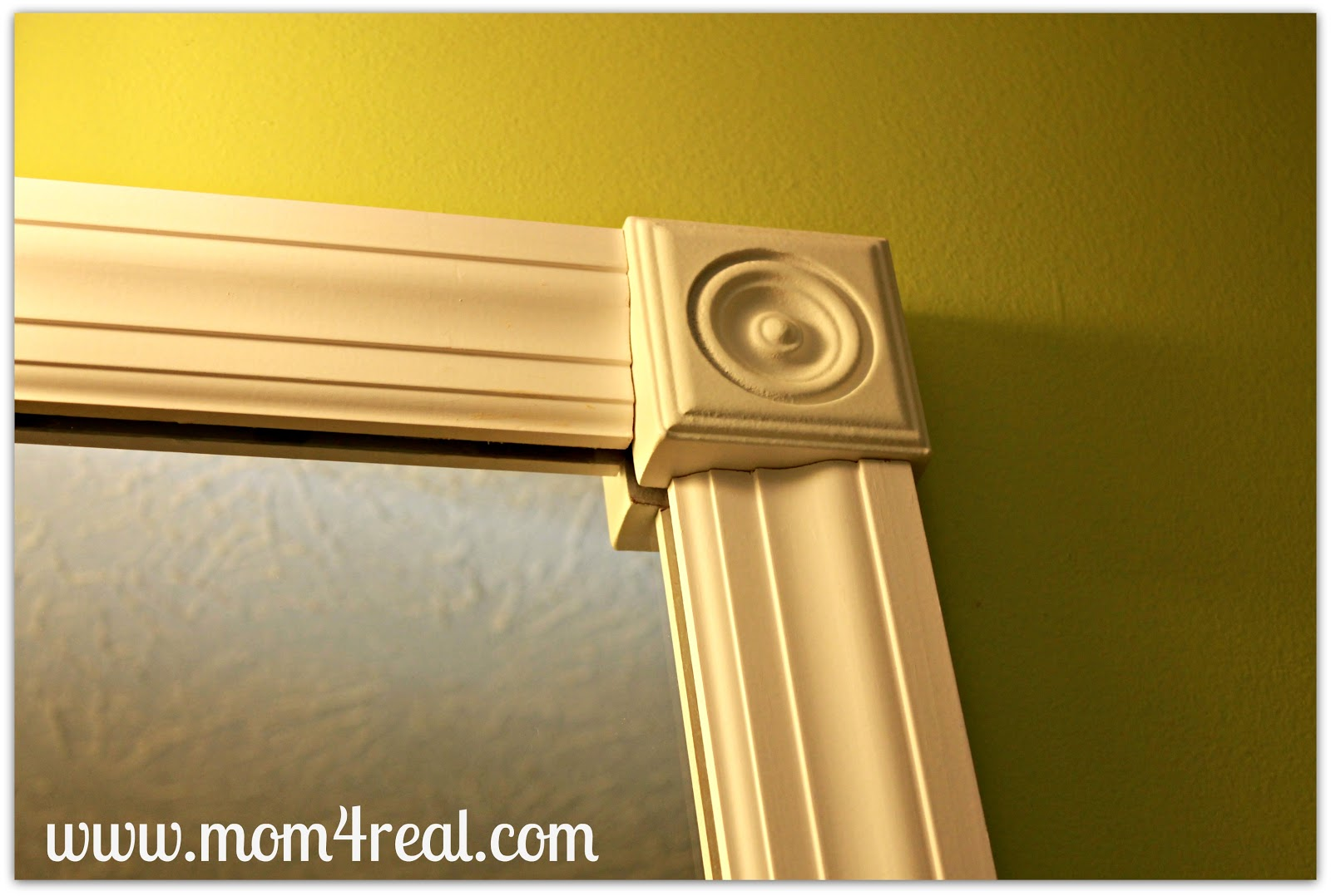 Framing Bathroom Mirror Over Metal Clips frame out your builder's grade mirror (without mitering) - mom 4 real