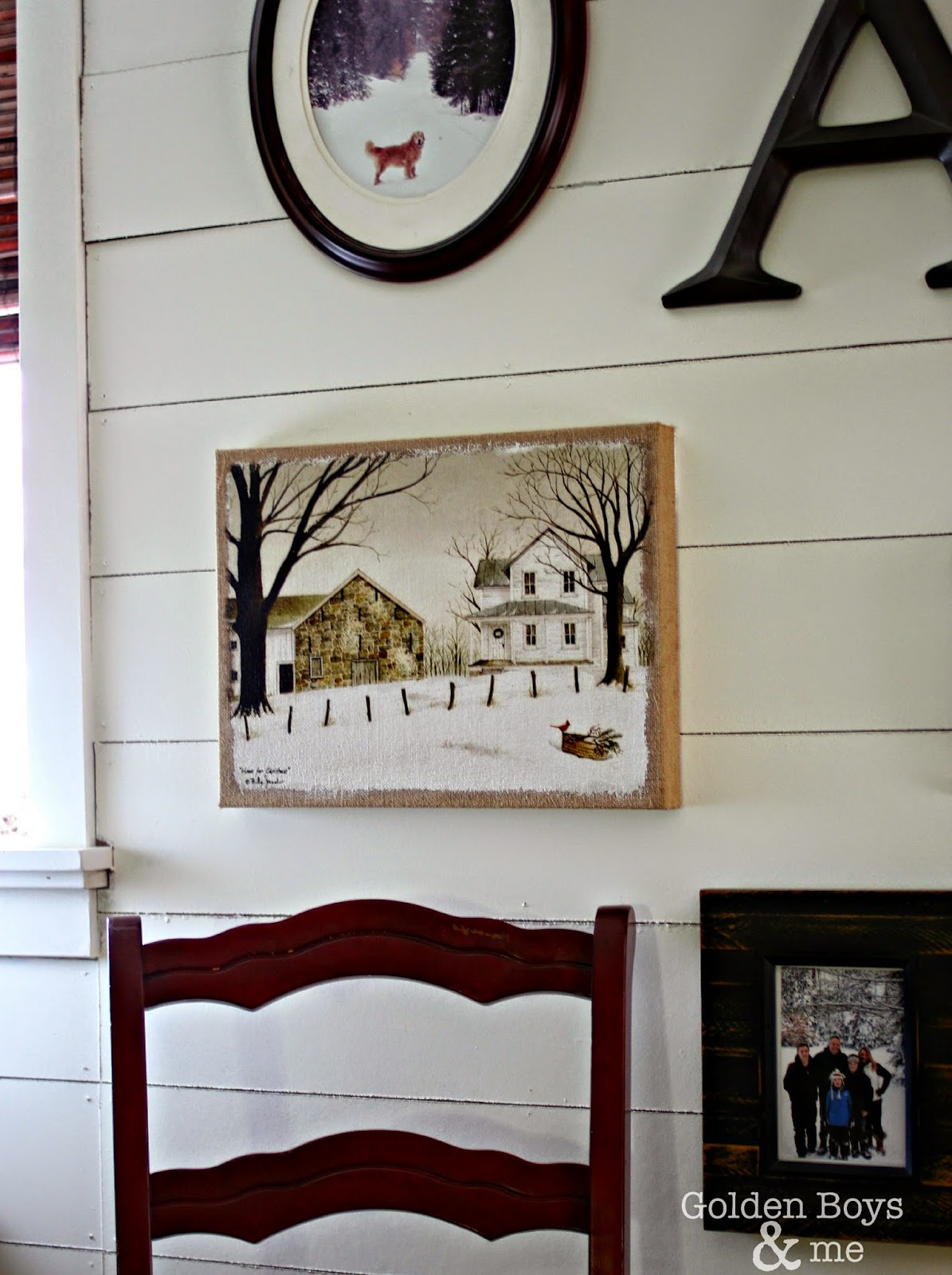 Winter picture on burlap from HomeGoods-www.goldenboysandme.com