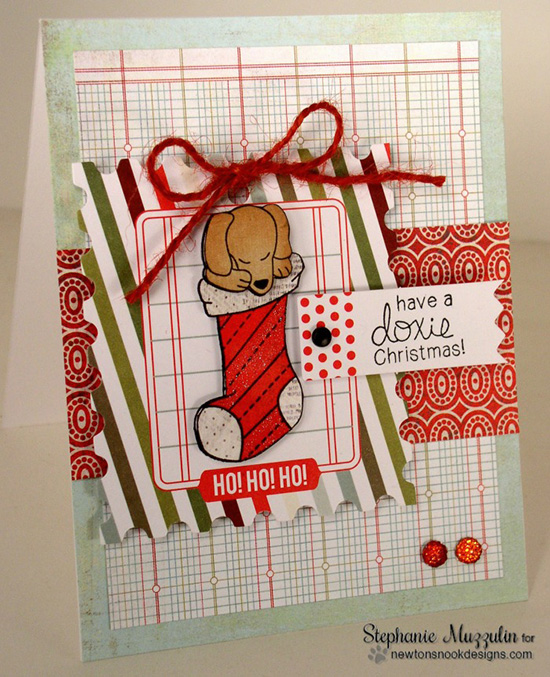 Doxie in Stocking  dog Christmas Card by Stephanie Muzzulin for Newton's Nook Designs - Holiday Hounds Dog Stamp set