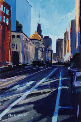 Acrylic painting of Main Street, Buffalo NY.