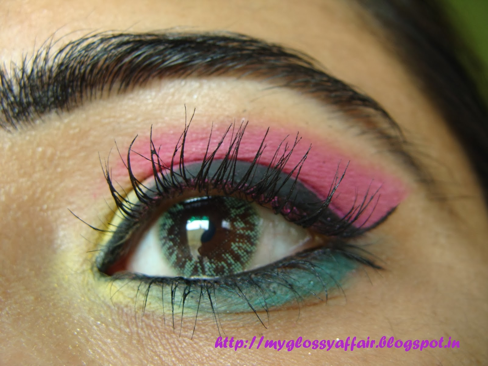 A Sunny Eye Makeup Pink Green Yellow My Glossy Affair
