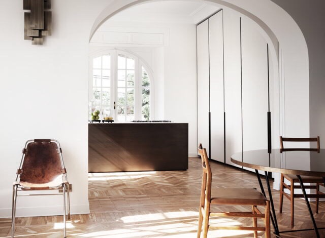 interior, interiors, scandinavian style, black, white, chair, big windows, mountain house,