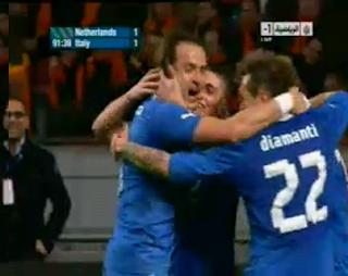 التعادل في وقت قاتل من فاراتي  هولندا 1-1 ايطالي 6-2-2013