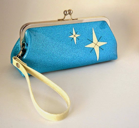 Sky Blue sparkle vinyl wristlet with white starbursts from Retro Redone