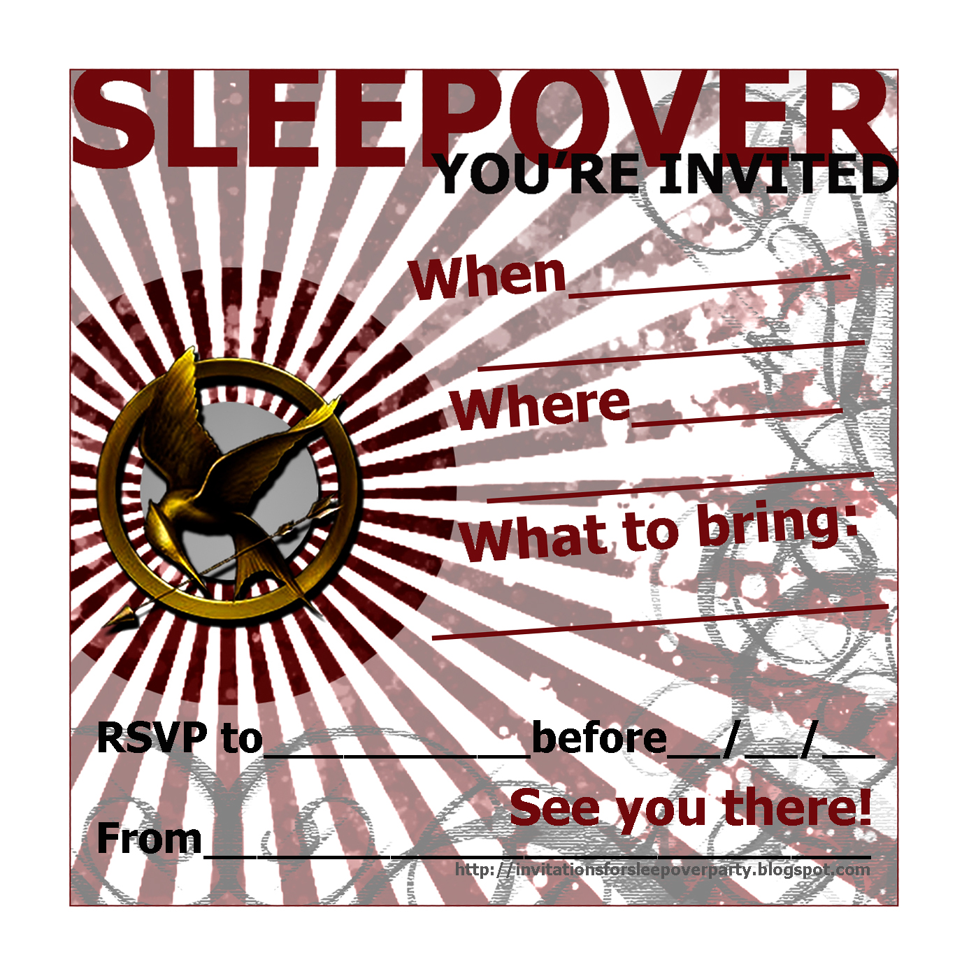 invitations for sleepover party the hunger games printable slumber party invites