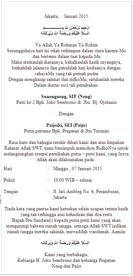 Kalimat untuk Undangan Pernikahan