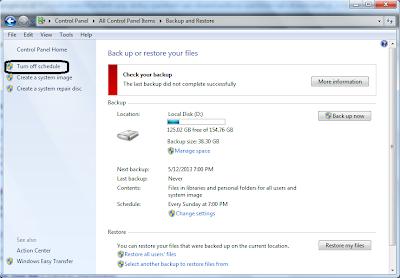 turn off schedule, Cara Menonaktifkan/Mematikan Backup Otomatis Windows 7