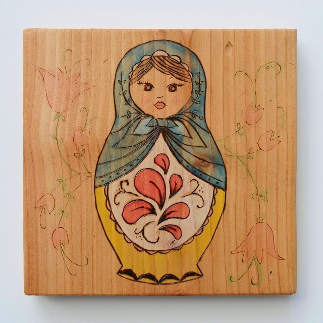 Matryoshka wood burning and watercolor project, Over The Apple Tree