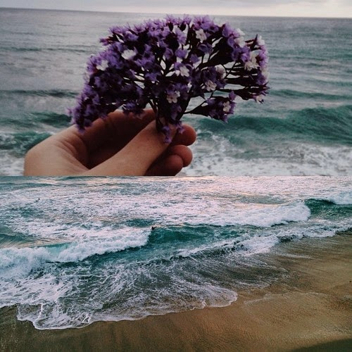 waves crashing, water, floral, hand, bouquet, tumblr, fashion, inspiration, womens fashion, blog