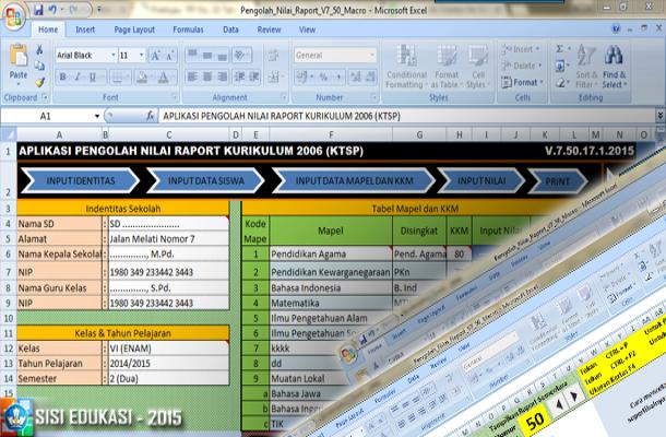 Aplikasi Pengolah Nilai Raport KTSP SD dengan Microsoft Excel Download Gratis