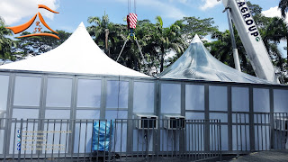"Our client have requested to do a Modular type Tent in metal with the size of 20"" x 20"". This to be setup at KL Tower for the ""Dinner In The Sky"" event.#Modulartypetent #Modular #canopy #DinnerInTheSky #kltower #tent"