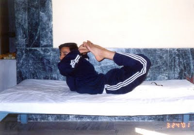 My Early Days of Teaching Yoga at Yog Niketan, half way to Muni Ki Reti, Ram Jhula, Rishikesh -- I'm giving the demonstration of 'Full Bow Pose' OR 'Purna Dhanu Asana'.