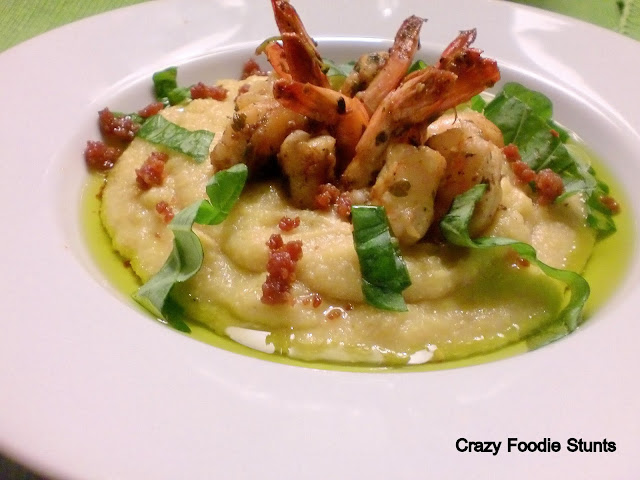 Crazy Foodie Stunts: Light Stunt: Garlic Shrimp Scampi and Soft Polenta with Olive Oil plus a Rant